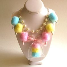 Cotton Candy Necklace Carnival Cotton Candy Statement Necklace Pastel Rainbow Jewelry Fairy Kei Kawaii Necklace