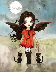 Molly Harrison Fantasy Witch Art, Vampire Art, and Halloween Art Prints Fantasy Witch, Witch Art, Fantasy Art, Dark Fantasy, Gothic Vampire, Vampire Art, Crazy Cat Lady, Black Cat Illustration, Fairy Art