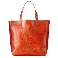 Orla Kiely Structured Stem Willow Bag  $465.00  Shiny leather bag with punched stem detail and leather handles.