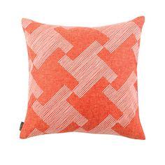 coral linen cushion