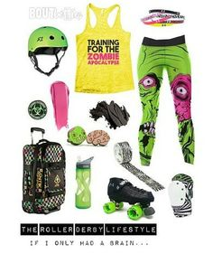 """The roller derby lifestyle: """"If I only had a brain..."""" Inspirational mood board design by Bout Betties on Polyvore. #friyayfashion featuring With Chic Amazon Funny Threadz Square Cats Skates Lord & Taylor Camelbak Under Armour Wicked Skatewear Bobbi Brown Smith Scabs Unpossible Cuts. Antik Barney's New York Atom Skates Etsy Devaskation The Patch Girl Duck Brand S1 Helmet Co. by bout_betties"""