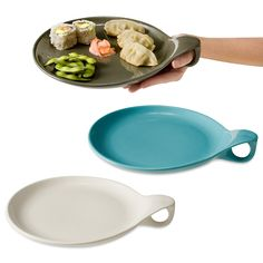 Budda Plate Perfect for mingling at parties or for dinners on the couch, these ergonomic plates can be cradled in your palm and feature a mini handle for your thumb.