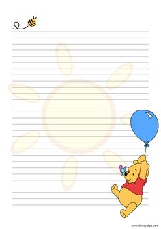 44 Trendy cupcakes fondant disney winnie the pooh Printable Lined Paper, Free Printable Stationery, Printable Scrapbook Paper, Disney Writing, Envelope Art, Disney Frames, Bullet Journal Ideas Pages, Stationery Paper, Note Paper