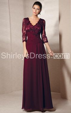 Graceful 3/4 Sleeve A-line Lace Dress With Ruche and V-neck in a deep wine colour for MOB.  $141 USD.  92 GBP.
