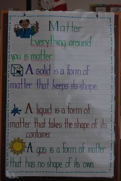 States of Matter Anchor Chart | ... this anchor chart to help them remember the three states of matter