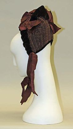 Bonnet    Date:      1885–90  Culture:      French  Medium:      straw, silk  Dimensions:      Height: 9 in. (22.9 cm)