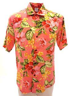 Hibiscus & Plumeria Pink Rayon Men's Hawaiian Shirt
