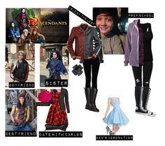 """me in: 'Disney Descendants'"" by j-j-fandoms ❤ liked on Polyvore featuring Disney, J Brand, Hudson Jeans, Abercrombie & Fitch, Alternative, Converse, Black and Francis Leon"