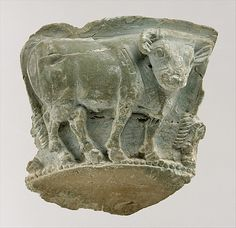 Fragment of a bowl with a frieze of bulls in relief. Period: Late Uruk–Jemdet Nasr Date: ca. 3300–2900 B.C.