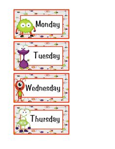 FREE Preschool Printables: Little Monster's Days and Month Printable