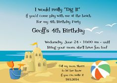 It doesn't matter how old you are, when you're on the beach and notice a shovel and bucket you get the urge to build a sand castle.  Relive those fun childhood days and use this invite to tell people about your sand castle building party.