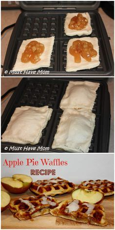 Apple Pie Waffles -- Amazing Waffle Iron Recipes for More than Just Breakfast : tieflow Waffle Maker Recipes, Pie Iron Recipes, Eggs In Waffle Maker, Quesadilla Maker Recipes, Pancake Maker, Delicious Desserts, Yummy Food, Foods With Iron, Food Trucks