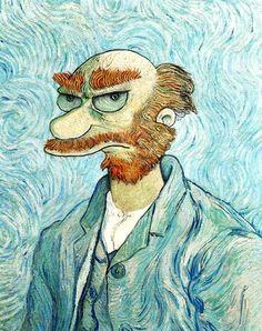portraits des simpsons willie van gogh   Portraits des Simpsons par des grands peintres   willie le jardinier simpsons pop culture marge simpson homer simpson David Barton apu