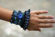Black  Blue  Green Crochet Cuff with Beaded and by ellisaveta