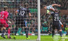 Celtic 2-1 Dundee, 22nd November 2014. Anthony Stokes heads Celtic into the lead.