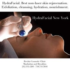 The #HydraFacial treatment is the newest advance in #non-laser #skin #resurfacing. That Improves the appearance of fine lines, #wrinkles, congested and enlarged #pores. Please schedule a free consultation by calling us at Revitta Cosmetic: 212-535-1201, 718-743-5616 / www.revitta.com