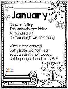 Kindergarten Poetry JANUARY Poetry - kindergarten and first grade reading and writing prompts - monthly poetry for fall - winter - spring and summer Kindergarten Art Lessons, Homeschool Kindergarten, Kindergarten Literacy, Writing Poetry, Writing Prompts, Teaching Poetry, New Year Poem, First Grade Reading, Teaching Activities