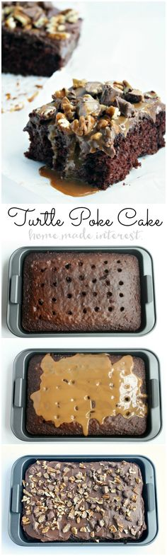 Poke cakes are such an easy cake recipe to make! This Turtle Poke Cake is covered with caramel that seeps into the cake and then topped with creamy chocolate frosting, pecans, and chunks of Turtle candy. This is the perfect easy cake to make for parties!