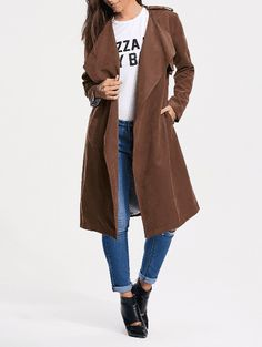 Belted Faux Suede Long Wrap Trench Coat - Tan - 2xl Dispatched in: Item ships within 5-10 business days. $31.48