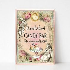 Alice in Wonderland Candy Bar Sign Sweet Table Tea Party Wedding Birthday Eat Me