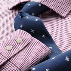 Classic navy and white Fleur de Lys tie | Classic ties from Charles Tyrwhitt, Jermyn Street, London