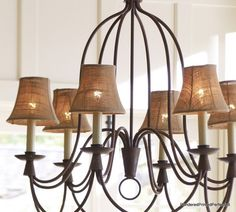 Burlap Chandelier Shades --would love in dining room