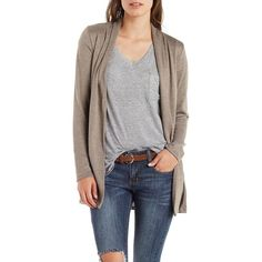 Charlotte Russe Gray Marled Open Front Cardigan by Charlotte Russe at... ($16) ❤ liked on Polyvore featuring tops, cardigans, grey, grey knit cardigan, gray cardigan, knit cardigan, open front cardigan and patterned cardigan