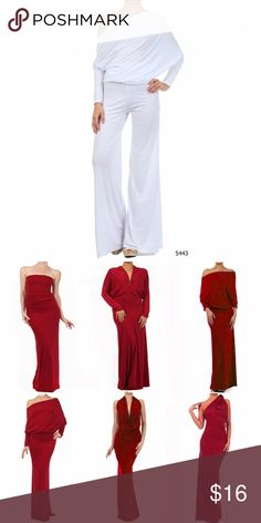 White Multi Way Women's Jumpsuit Romper Multi Way White Women's Jumpsuit Romper.  This jumpsuit can be worn 6 ways.  Comes with instructions.  Made of polyester/spandex.  Red dress picture is to show how it can be worn.  Check my boutique for other colors in jumpsuits and dresses Sexy Diva Pants Jumpsuits & Rompers