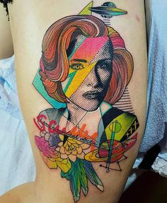 I could go on forever about how much of a dream come true it was for me to make a Scully tattoo (with a nod to Gillian Anderson as Media as Bowie on American Gods ) and on such a lovely person at that. bucket list career stuff thank you so so much Maya! God Tattoos, Badass Tattoos, Time Tattoos, Sexy Tattoos, Unique Tattoos, Beautiful Tattoos, Sleeve Tattoos, Tatoos, Space Tattoos
