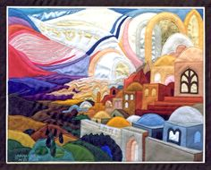 """"""" Dreaming Jerusalem """" Tapestry by Bracha Lavee __Jerusalem is a branch of a root fed out of the fountain of life and of the struggle to realize the dream."""