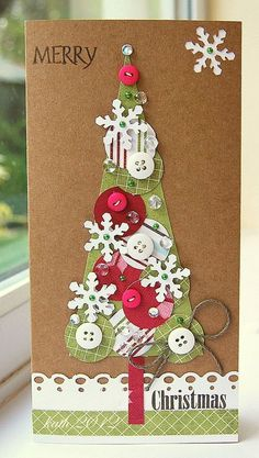 Love this kitschy tree! Make a smaller version for a Christmas tag. Christmas Tree Cards, Christmas Gift Tags, Handmade Christmas, Christmas Decorations, Homemade Decorations, Xmas Cards Handmade, Button Christmas Cards, Scrapbook Christmas Cards, Christmas Buttons
