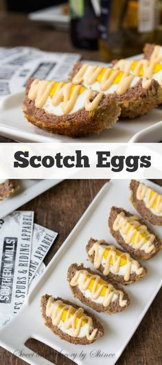 Scotch Egg ~Sweet & Savory by Shinee Keep this simple scotch egg recipe handy when you make them for your next party, because everyone will be requesting it after they devour a few. Scotch Eggs Recipe, Scottish Recipes, Good Food, Yummy Food, Appetizer Recipes, Avacado Appetizers, Prociutto Appetizers, Egg Recipes For Dinner, Popular Appetizers