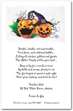 Halloween Invitations: Frightful Jack-o-Lanterns Halloween Party Invitations