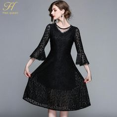 29e1ea7f5d7 H Han Queen 2018 Spring Lace Dresses Women Vestidos Half Sleeve Hollow Out  Back Runway Vintage Female Slim Sexy Party Dress