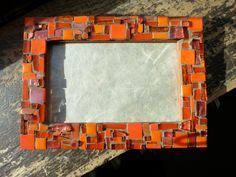Pure Orange Mosaic Picture Frame 4x6 by nutmegdesigns on Etsy