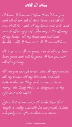 See some examples of very romantic Wedding Quotes in our website. We have so many beautiful words for your wedding quotes and wedding vows. Vow Examples, Wedding Vows Examples, Wedding Poems, True Love Quotes, Love Poems, Love Quotes For Him, Change Quotes, Vows Quotes, Lyric Quotes