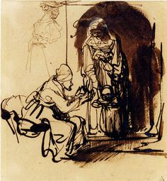 Rembrandt - Sheet of studies: two women teaching a child to walk and a sketch of a woman seen from the back. N.d.