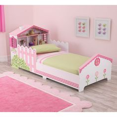 KidKraft Dollhouse Pink and White Toddler Bed ($210) ❤ liked on Polyvore featuring home, children's room, children's furniture and white