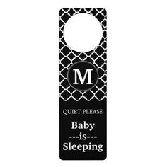 Black and White Quatrefoil Pattern Custom Monogram Door Hanger #door #knob #hanger