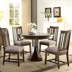 industrial rustic round design dining set with laminated bluestone top - Rustic Dining Set