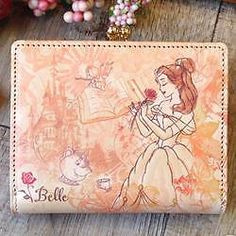 Disney Princess Billfold Leather Wallet Beauty and the Beast BELLE Japan 58C