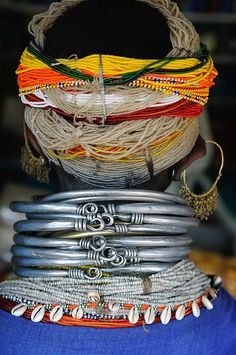 Jewellery traditionally worn by the Bonda women of Odisha (Orissa), India.