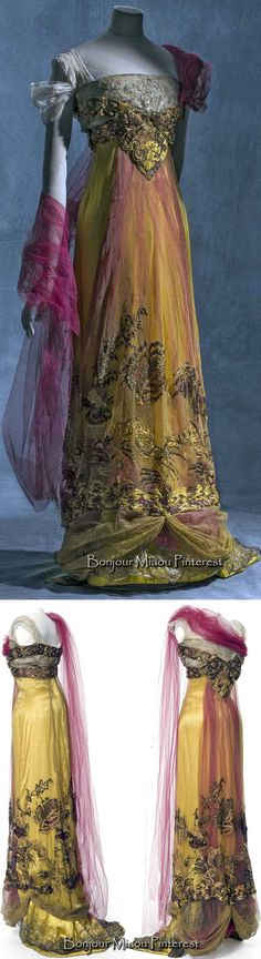 Evening gown, Callot Soeurs, ca. 1909–13 or 1907–10 (sources difffer). Silk satin, metallic tulle, and silk tulle. Photos: Jean Tholance. Les Arts Décoratifs and Europeana Fashion