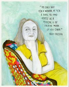 Betty Friedan foi uma importante ativista feminista estadunidense do século 20. Uma das ilustrações do projeto que celebra a força de grandes mulheres.