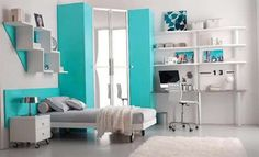 Blue White Room Decorating Ideas for Teenage Girls Room Images