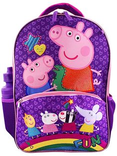 Peppa Pig Girls 5 piece Backpack and Snack Bag School Set (One Size, Pink/Blue) Awesome Backpacks, Kids Backpacks, Peppa Pig Teddy, Pig Girl, Gourmet Meals, Advent Calendars For Kids, Back To School Bags, Insulated Lunch Box, School Sets