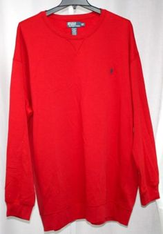 Polo-Ralph-Lauren-Mens-Red-Long-Sleeve-Crew-Neck-Navy-Pony-Logo-Sweatshirt-3XLT