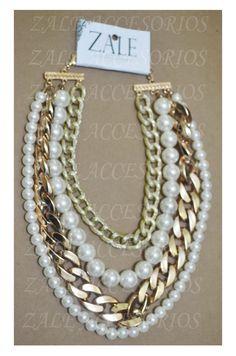 collar cadena y perlas #collar