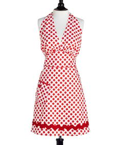 Take a look at this White & Red Polka Dot Bombshell Apron - Women by Jessie Steele on #zulily today!
