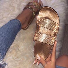 Women shoes Wedges Summer Sandals - Women shoes And Boots Flat Sandals - - Women shoes For Work Summer - Women shoes Canvas Cute Sandals, Women's Shoes Sandals, Cute Slides, Fresh Shoes, Slipper Sandals, Studded Heels, Glitter Shoes, Cobbler, Summer Shoes